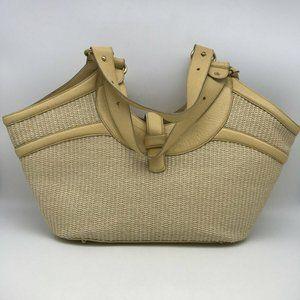 Brahmin Tan Raffia Tote Bag